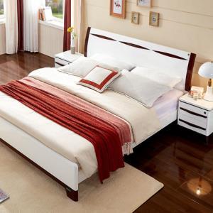 QuanU全友121807现代人造板板式床1.8m床+床头柜+床垫 1998元包邮(双重优惠)