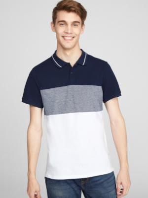 OLDNAVY男士拼色短袖Polo衫 84.93元