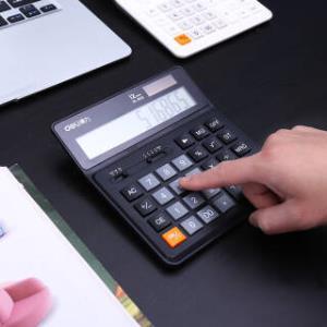 得力(deli)双电源桌面计算器 12位数宽屏财务计算器 黑色1675  36元
