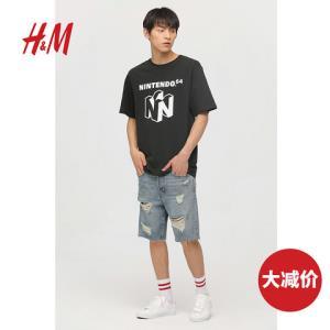 H&M男装牛仔裤裤子男时尚潮流破洞直筒牛仔短裤男HM0589549 100元