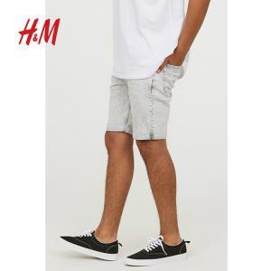 H&M男装牛仔裤时尚潮流休闲修身直筒牛仔短裤男HM0626486 120元