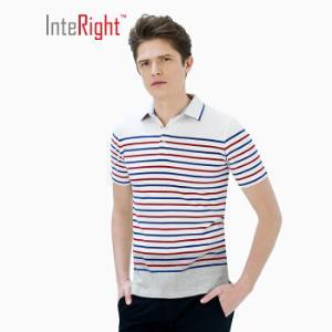 INTERIGHT2019夏季延续款男循环彩条短袖全棉POLO衫蓝白条XL码*4件108元(合27元/件)