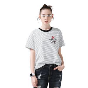 初语 8720131020a 女士纯棉条纹短袖T恤 灰白条纹 S 78元
