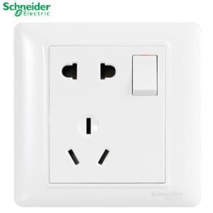 施耐德开关插座面板睿意系列白色强电电源插座10A五孔带开关一开五孔