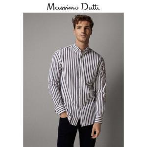 春夏大促MassimoDutti男装标准版条纹斜纹布衬衫男士休闲长袖衬衣00116017250
