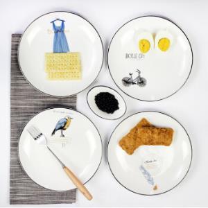 点心盘8寸陶瓷圆形早餐盘直径20cm
