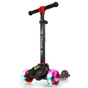 美洲狮(COUGAR)儿童滑步车四轮全闪加大滑板车MHBC019黑红色169元