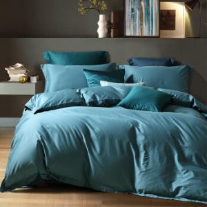 水星家纺床上四件套纯棉60支长绒棉贡缎床单被罩被套五星级酒店宾馆套件醉出色(孔雀蓝)双人1.8米床 529元