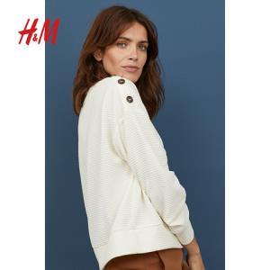 H&M女装针织衫秋季宽松圆领长袖毛衣罩衫毛针织衫女HM070112960元