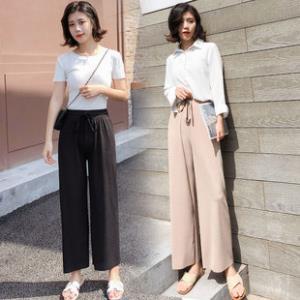 高品质!高腰针织冰丝九分阔腿裤 ¥30
