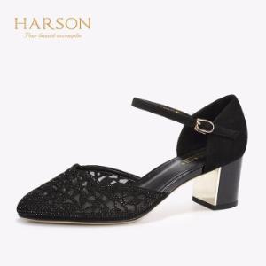 哈森2019春夏新款通勤尖头单鞋女一字带中空正装高跟鞋HM96009黑色35764.1元