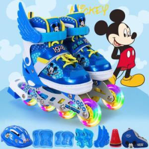 迪士尼(Disney)儿童溜冰鞋全闪光轮滑鞋套装轮滑包可调旱冰鞋DCB71250-A8-1米奇31-34*2件    368元(合184元/件)