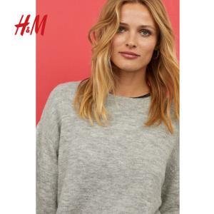 H&M女装毛衣秋季长袖针织衫宽松圆领女士毛衣套头衫HM063754980元