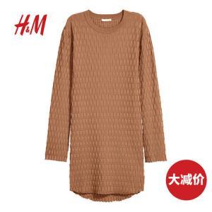 H&M女装毛衣女宽松休闲洋气纹理感针织套衫HM0605603120元