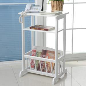 慧乐家置物架简约时尚客厅厨房书房层架收纳架杂志架电话架白色110161 99元