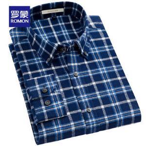 Romon/罗蒙长袖衬衫男秋季磨毛纯棉衬衣中年商务休闲新款格子寸衫144元