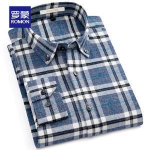 Romon罗蒙格子长袖衬衫男士休闲磨毛衬衣中青年新款时尚纯棉寸衫144元