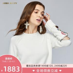 MissSixty新款秋季钉珠毛织衫长袖套头衫宽松毛衣女1883元