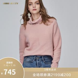 MissSixty新款冬季珠饰高领宽松长袖毛织衫套头衫毛衣女745元