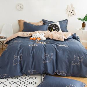 北极绒纯棉四件套全棉套件床上用品被罩双人床单被套200*230cm蓝森物语1.5/1.8米床