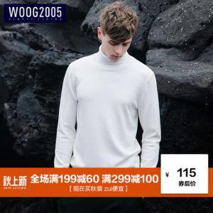 WOOG2005男士纯色高领毛衣2019秋季新款韩版帅气毛衫潮流针织衫115元