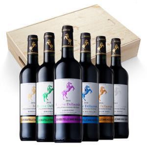 法国进口红酒克鲁斯大帝跃马AOC干红葡萄酒六大产区混合木盒整箱礼盒装750ml*6瓶254.15元