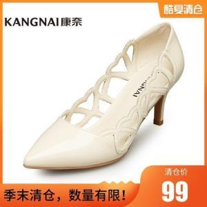 康奈女鞋夏季韩版性感时尚细高跟鞋职业正装优雅镂空套脚百搭凉鞋99元