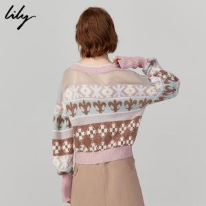 Lily2019秋新款不对称费尔岛印花V领宽松短款薄套头毛针织衫8957  券后379元