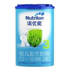 诺优能(Nutrilon)幼儿配方奶粉(12―36月龄,3段)800g*4罐组合装527元