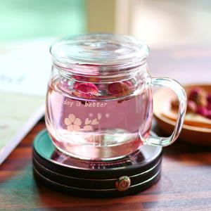 vankine玻璃杯花茶杯耐热办公室泡茶套装带盖过滤女士家用水杯子    18.8元(需用券)