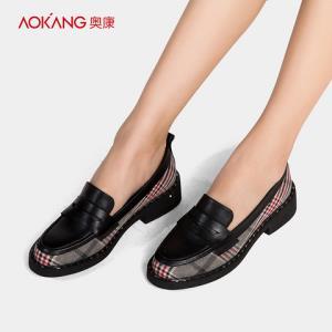 奥康女鞋新款潮流复古乐福鞋格子布拼接粗低跟百搭单鞋 215元(需用券)