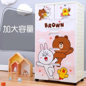 多层收纳柜抽屉式儿童整理箱宝宝婴儿衣物柜塑料自由组合储物柜子咪咪兔50CM宽3层148.9元
