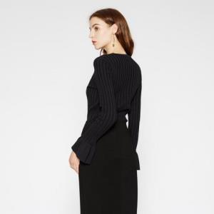 折|MECITY女装莫代尔喇叭袖短款圆领毛衣套头打底衫_772 64.35元