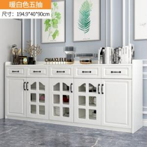创奇餐边柜现代简约厨房碗柜客厅边柜储物柜带门板式置物架茶水柜暖白色双门双抽679元