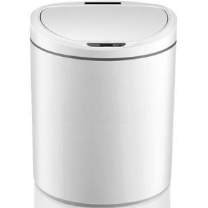 百家好世智能感应垃圾桶家用大号卫生间纸篓带盖办公室翻盖废纸篓茶水桶电动全自动客厅厨房厕所创意垃圾筒D型白色8L109元