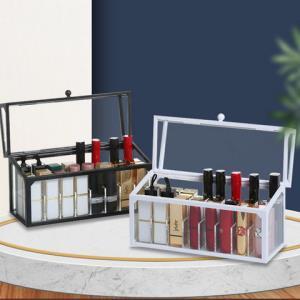 桌面口红唇釉收纳盒多格防尘透明带盖口红格家用化妆品收纳整理架 4.9元(需用券)