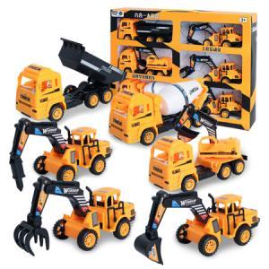 儿童大号惯性挖掘机工程车玩具套装推挖土机运输车翻斗车回力车3-4-6岁男孩玩具小汽车六一儿童节礼物彩盒六只装 45元