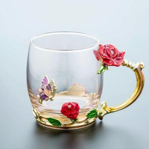 珐琅彩水杯玻璃杯子耐热欧式茶花水杯 28元(需用券)