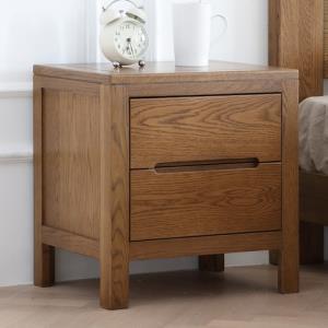 原始原素北欧全实木床头柜简约现代橡木斗柜卧室家具双抽储物柜682元