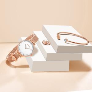 雷诺(RARONE)时尚女士手表气质简约石英腕表米兰带礼盒装星月系列 599元