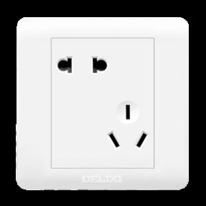 德力西斜五孔插座白色家用    4.72元