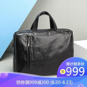 PLUS价:金利来(Goldlion)商务公文包横款牛皮手提包电脑包休闲男包黑FA184053-211 497元