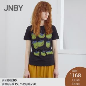 JNBY/江南布衣2019夏季新品棉复古印花圆领短袖T恤女5I1610130 168元