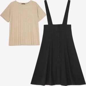 韩都衣舍MR9021璎女士两件套短袖A字背带裙 88元