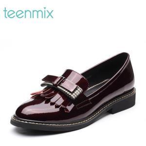 天美意AR341AQ8女士漆皮方跟乐福鞋
