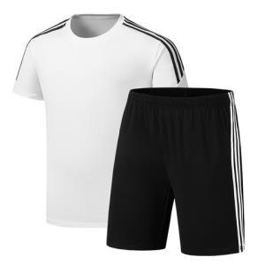 鳄铌特运动套装男式夏季短袖t恤短裤套装休闲两件套纯色三条杠*2件 136元(合68元/件)