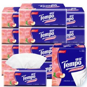 得宝Tempo软抽德国品牌纸巾甜心桃味餐巾纸面巾纸90抽*12包软抽纸 49.9元