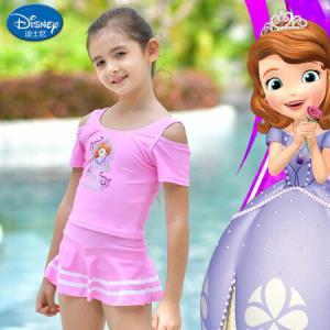 迪士尼SPQ10056B苏菲亚分体裙式系列分体露肩女童泳衣粉红色120 44元