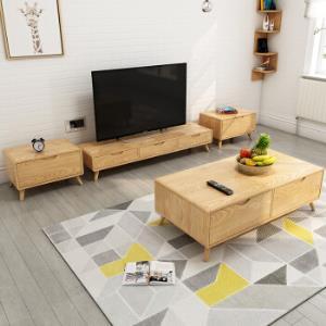 贝坦达自由组合客厅家具原木色电视柜+斗柜*2 1300元包邮(需用券)