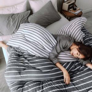 简丽被子冬被单人床加厚学生宿舍保暖秋冬季被芯棉被1.5米152*218cm灰白条59.9元